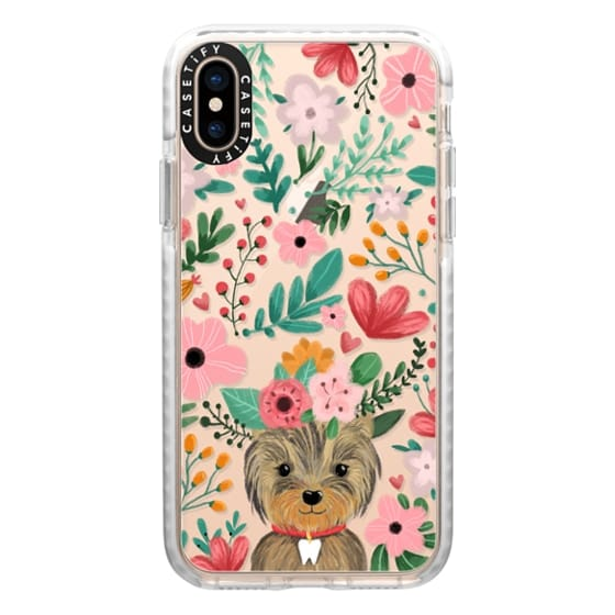 iPhone XS Cases - Cute yorkie dog. Yorkshire terrier with summer flowers and tooth necklace.