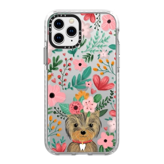 iPhone 11 Pro Cases - Cute yorkie dog. Yorkshire terrier with summer flowers and tooth necklace.