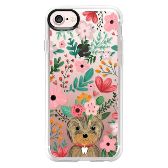 iPhone 7 Cases - Cute yorkie dog. Yorkshire terrier with summer flowers and tooth necklace.