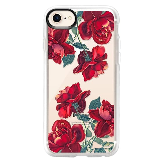 iPhone 8 Cases - Red Roses (Transparent)