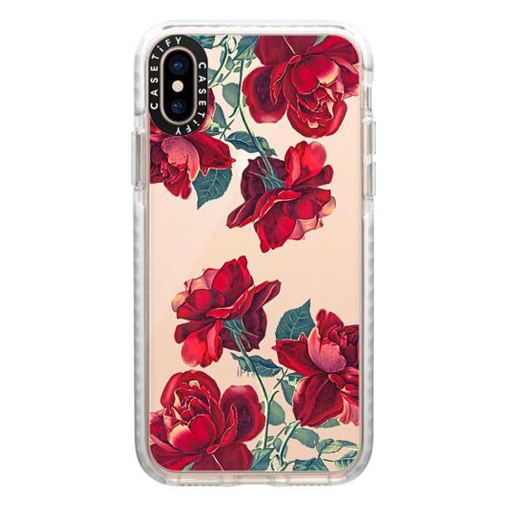 iPhone XS Cases - Red Roses (Transparent)