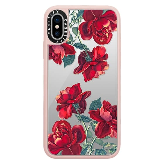 iPhone X Cases - Red Roses (Transparent)