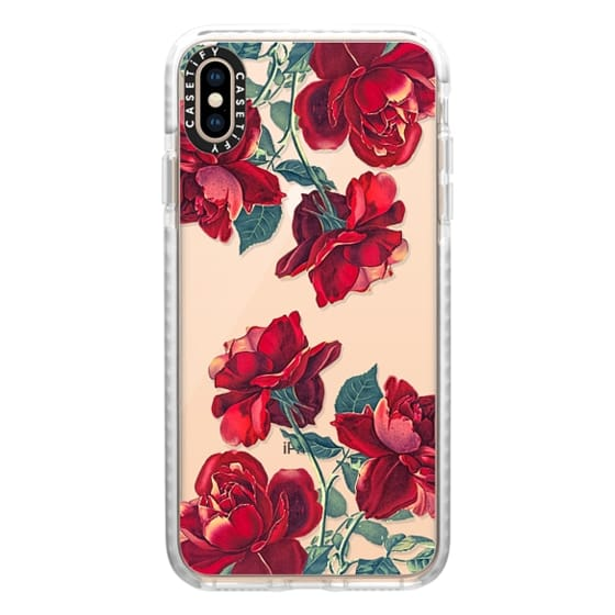 iPhone XS Max Cases - Red Roses (Transparent)