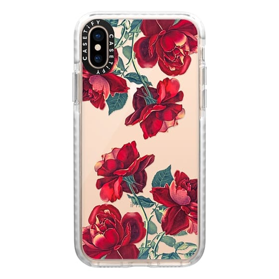 iPhone XS Cases - Red Roses (Transparent)