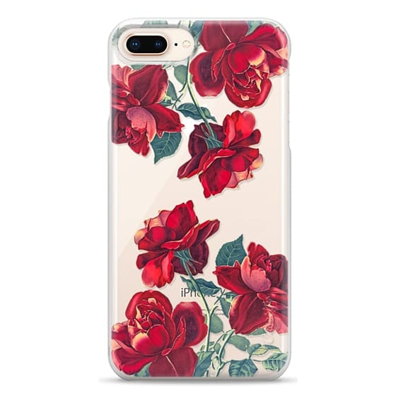 iPhone 8 Plus Cases - Red Roses (Transparent)