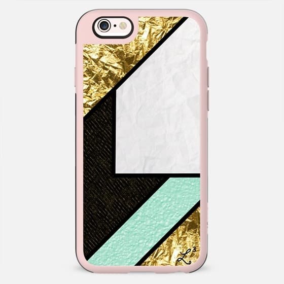Gold Teal and White Crumpled Paper Shapes - New Standard Case