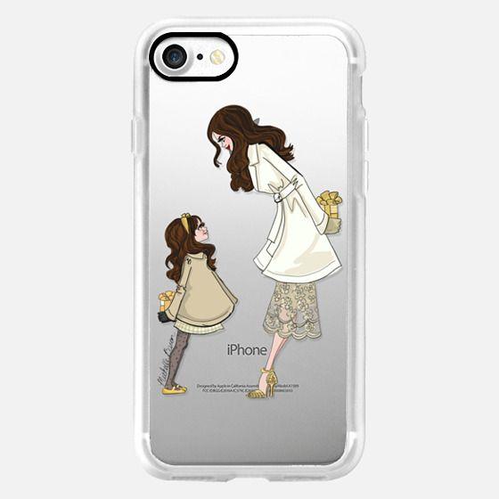Mother Daughter Holiday Fashion Illustration _ Brunette -
