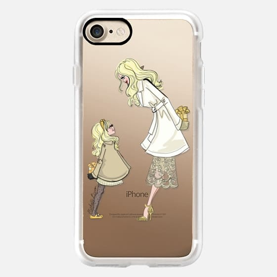 Mother Daughter Holiday Fashion Illustration _ Blond -