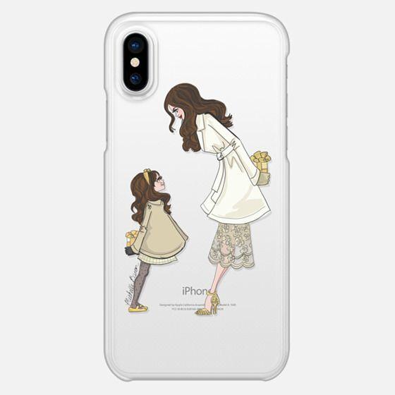 Mother Daughter Holiday Fashion Illustration _ Brunette