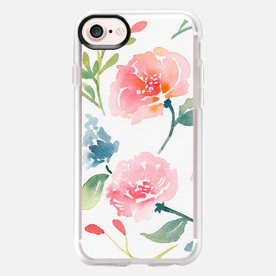 Natalie Malan Watercolor Bluebells and Peonies - Snap Case