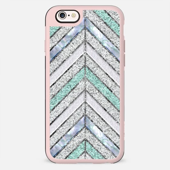 Diagonal Stripes in Frosted Silver and Mint Teal Glitter Mother of Pearl - New Standard Case