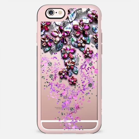 Cascading Flowers - Floral Mother of Pearl Confetti design - New Standard Case
