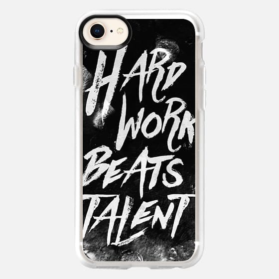 Inspirational typographic quote Hard Work Beats Talent - Snap Case