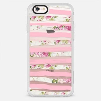 iPhone 6s Plus Case Elegant Pretty Pink Vintage Floral Print and Solid Pink Brushed Stripes