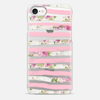 iPhone 7 ケース Elegant Pretty Pink Vintage Floral Print and Solid Pink Brushed Stripes