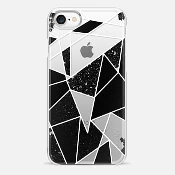 iPhone 7 Case Black and White Rustic Painted Abstract Linear Geometric Triangles Pattern on Transparent Background