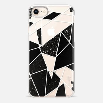 iPhone 8 ケース Black and White Rustic Painted Abstract Linear Geometric Triangles Pattern on Transparent Background