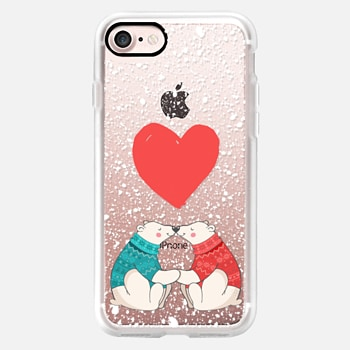 iPhone Case -  Winter Polar Bear Love and Snow Illustrations