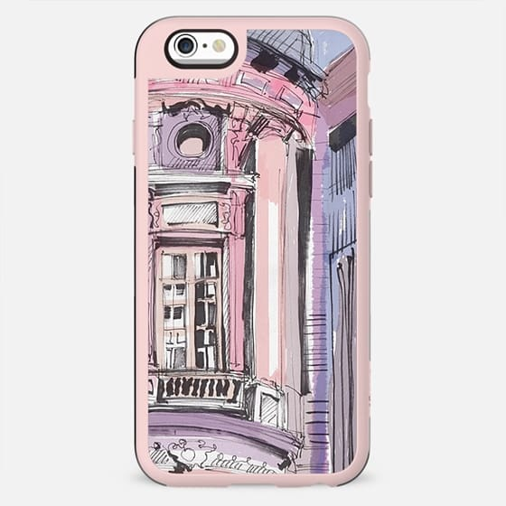 Old building pink watercolor sketch - New Standard Case
