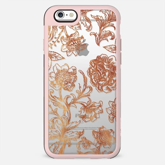 golden flowers illustration clear Line art - New Standard Case