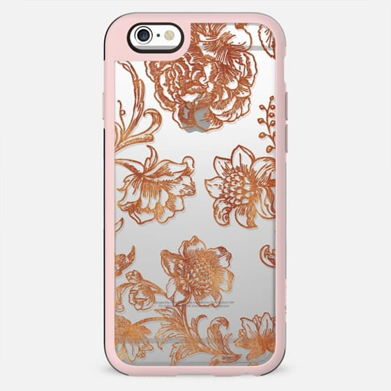 Golden flowers and foliage delicate illustration clear - New Standard Case
