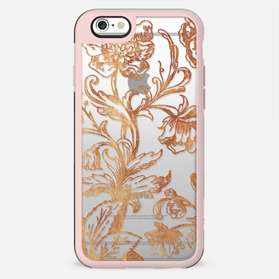 Golden flowers and foliage delicate illustration line - New Standard Case