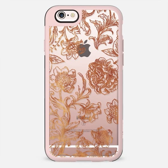 Golden flowers and foliage delicate illustration lace - New Standard Case