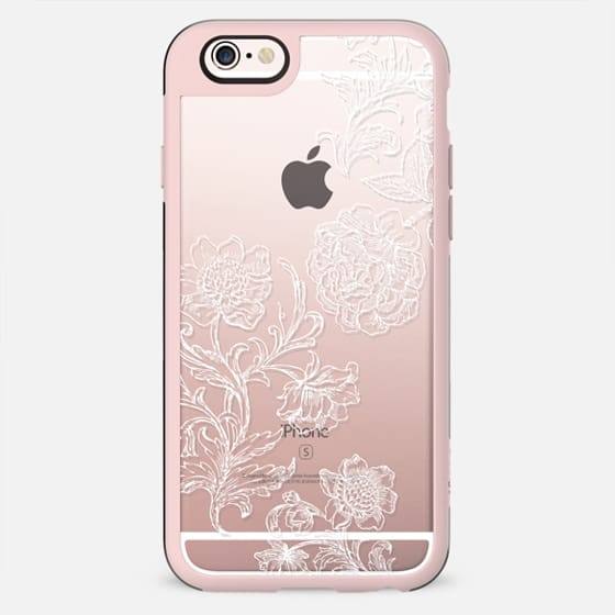White floral line art lace clear case - New Standard Case