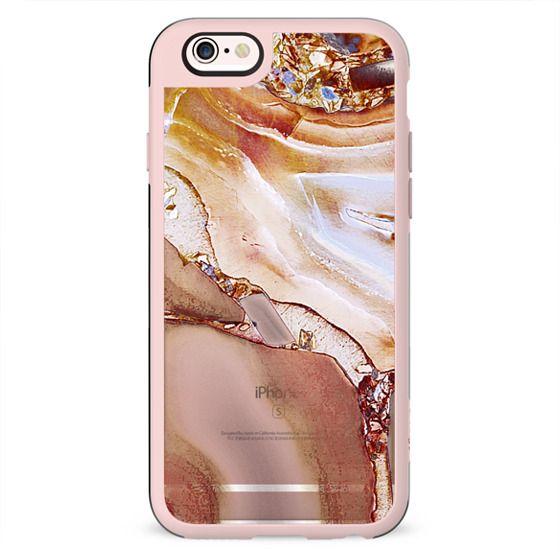 Metallic marble golden copper agate clear case