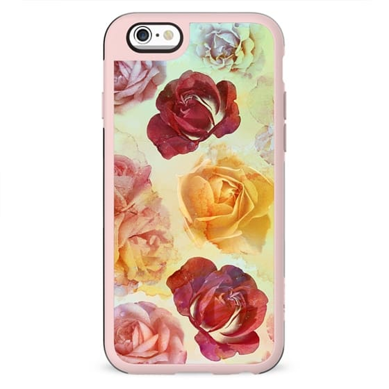 Pastel watercolor painted roses romantic painting