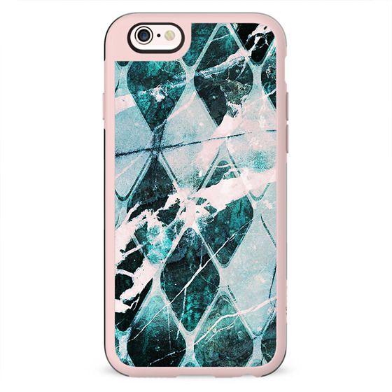 Turquoise marble geometric tiles