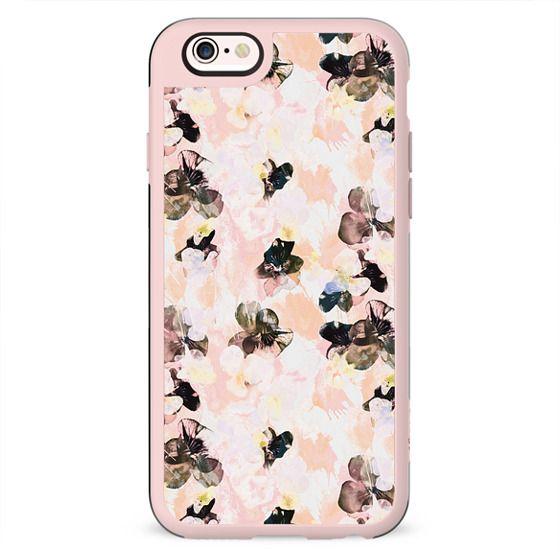 Black pink peach petals - pansy flowers