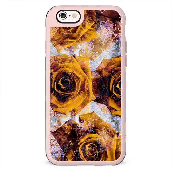 Golden rose petals and metallic flowers line art
