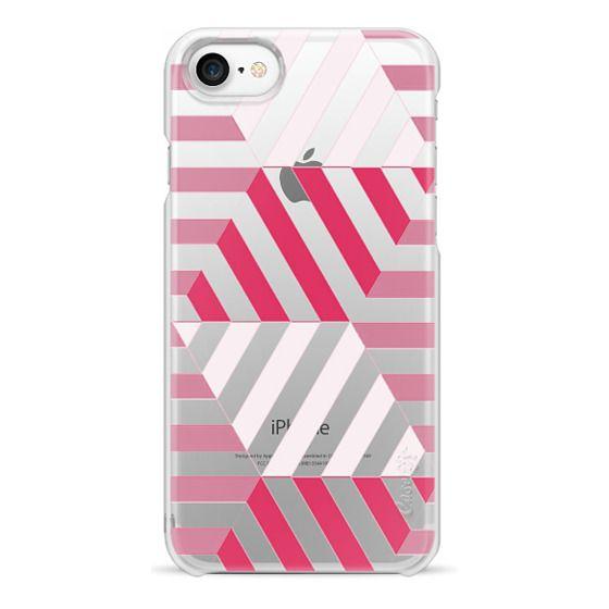 iPhone 6s Cases - Fuchsia - white stripes clear case