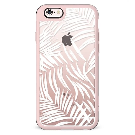 White brushed palm leaves transparent case