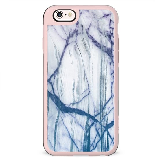 Transparent blue cracked marble painting