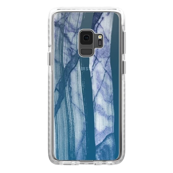iPhone 7 Plus Cases - Brushed blue white clear marble