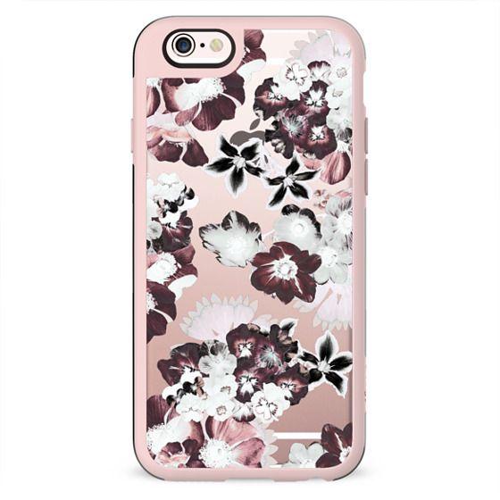White burgundy transparent flower petals