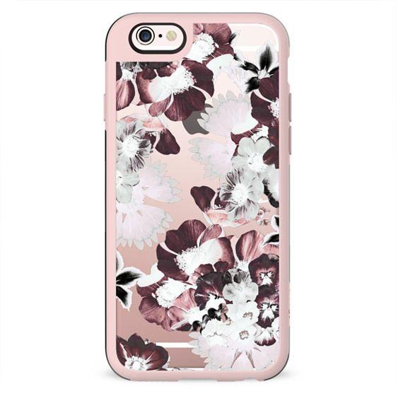 White burgundy transparent flower petals clear case
