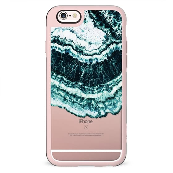 White turquoise sea waves agate marble clear case