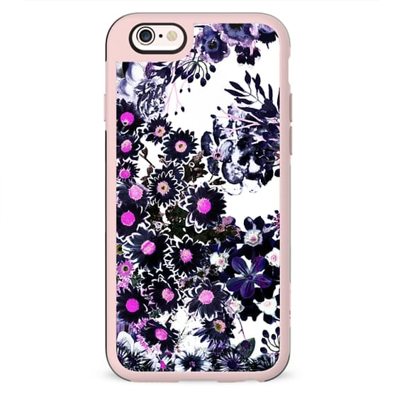 Purple pink ink painted flowers on white