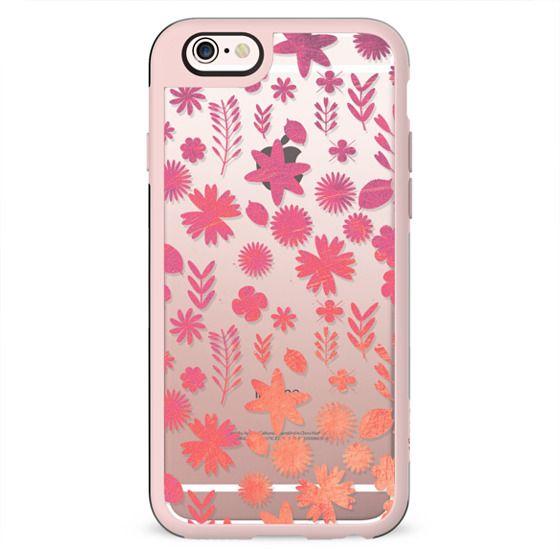 Pink orange metallic flower pattern clear case