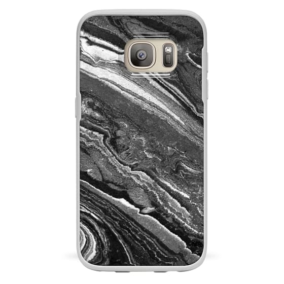 Galaxy S7 Coque - Monochrome marble lines