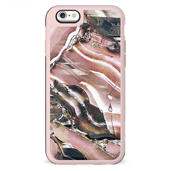 Dusty pink marble and metallic gems