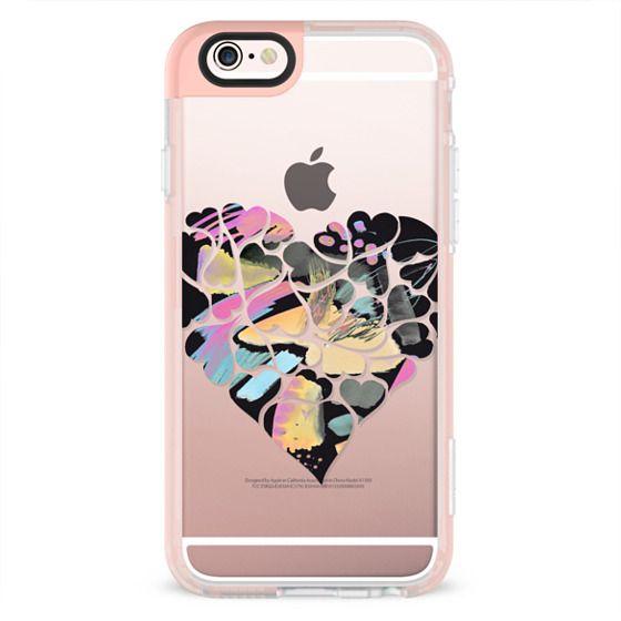 Hearts - black pink paint