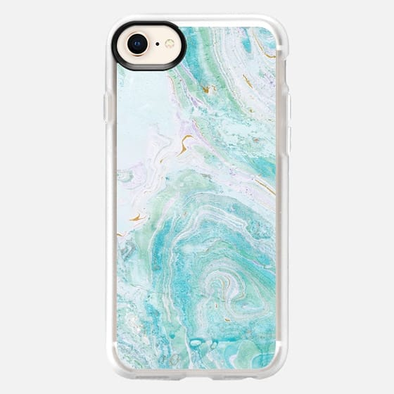 marble painting turquoise - Snap Case