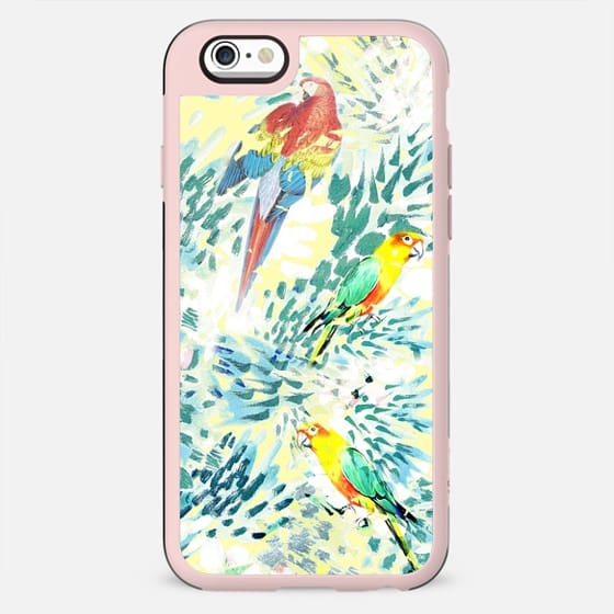Colourful parrots and painted leaves - New Standard Case