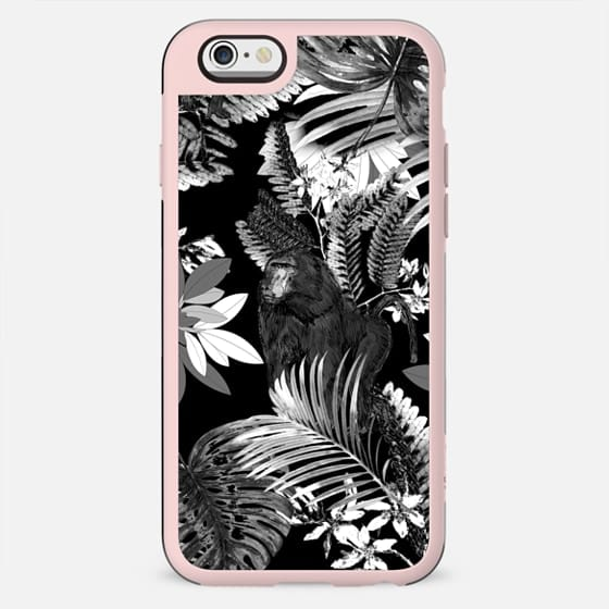 Black and white jungle foliage