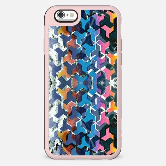 Geometric rainbow marble collage - New Standard Case