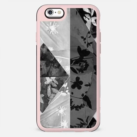 Stylized monochrome floral collage - New Standard Case